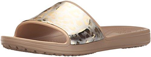 Crocs Women's Sloane GRPH Metallic W Slide Sandal, Gold/Gold, 8 M (Metallic Croc)