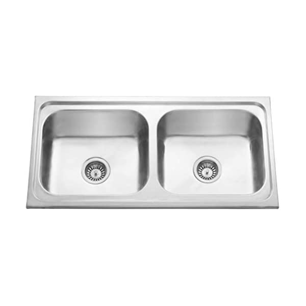 """CROCODILE® 304 Grade Stainless Steel Double Bowl Kitchen Sink (37"""" x 18"""" x 8"""" Double Bowl, Glossy)"""
