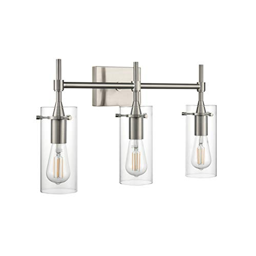 Effimero 3 Light Bathroom Vanity Light | Brushed Nickel Hallway Wall Sconce LL-WL33-1BN Brushed Nickel Vanity Lights