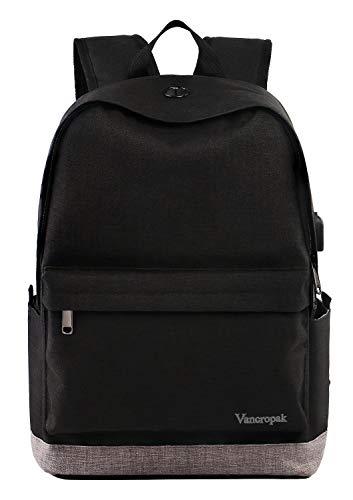 Student Backpack, Laptop Commuter Backpack for Men Women, Travel College Bookbag Back Bag with USB Charging Port, Unisex Water Resistant Casual Rucksack Fits 15.6 inch Laptop