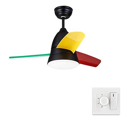 Pinzhi Outdoor Ceiling Fan Light Nordic Style Electric Fan Chandelier Children's Fan Light Restaurant Bedroom Simple Ceiling Fan Light Ceiling Fan Light Kits (Color : Black, Size : Wall Control) (Best Outdoor Ceiling Fans 2019)