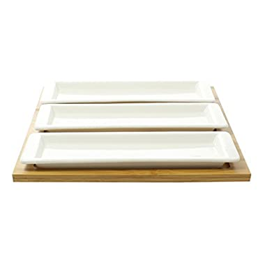 JustNile Ceramic Party Serving Dish Set - 3 Long-Sized Dish Set with Wooden Tray