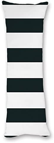 """UTF4C Modern Design Black and White Striped Pattern Body Pillow Cover Pillow Case 20""""x54"""",Pillow Cases with Zipper for Pregnant Women"""