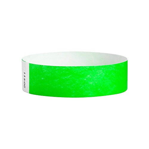 WristCo Neon Green 3/4 Inch Premium Black Light Security 500 Count Paper Wristbands for -