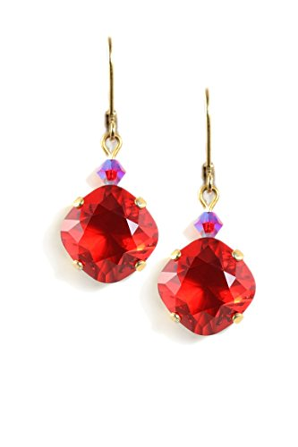 (Clara Beau Bright Red color Swarovski Glass Crystal and Bead Accent GoldTone Earrings EAM213)