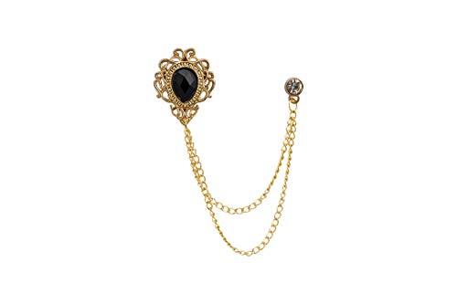 Knighthood Black Stone Gold Engraving Swarovski Chain Brooch