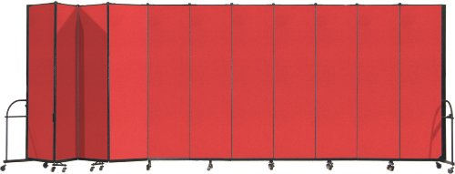Screenflex Heavy Duty Portable Room Divider (HFSL7411-DR) 7 Feet 4 Inches High by 20 Feet 5 Inches Long, Designer Red Fabric by Screenflex