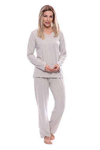 Women's Faux-Wrap Pajama Set - Luxury Sleepwear for Her by Texere (Oasisleep, Heather Platinum, X-Large) for Women TX-WB000-007-21G2-R-XL