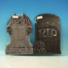 Set of 2 Asst. Halloween Tombstones, Props, Decorations and -