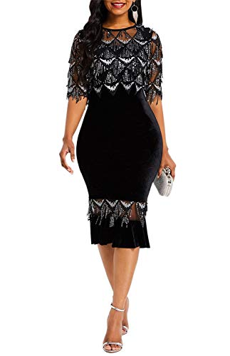 Salimdy Women Sexy Sequin Beaded Fringe See Through Mesh Sheer Lace Half Sleeve Cocktail Party Midi Pencil Dress Black L