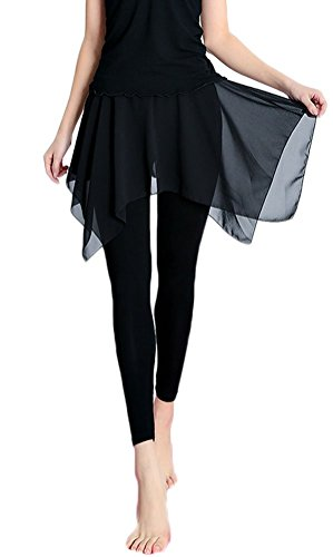 Zukzi Women's Flowy Cropped Length Footless Leggings with Skirt, Black, Large -