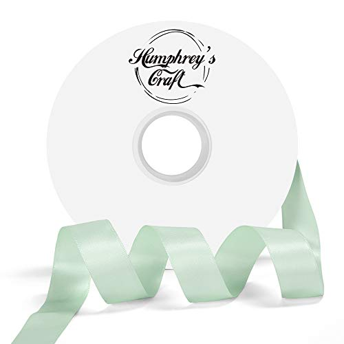 Humphrey's Craft 1-inch Double Face Solid Satin Ribbon 100% Polyester Ribbon Roll-50 Yard (Mint Green) -