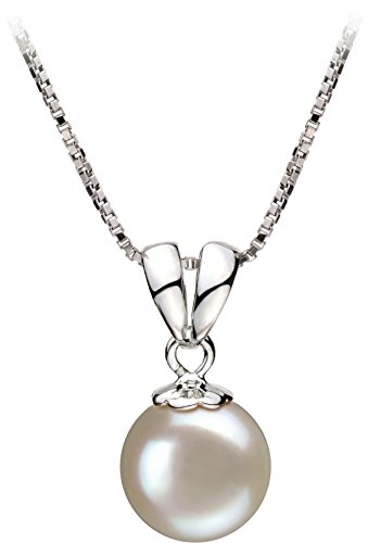 Sally White 9-10mm AA Quality Freshwater 925 Sterling Silver Cultured Pearl Pendant For Women (Pendant Fw Necklace Pearl)
