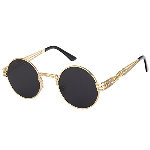 Pro Acme John Lennon Round Steampunk Sunglasses for Women Men Retro Metal Frame (Gold Frame/Black Lens)