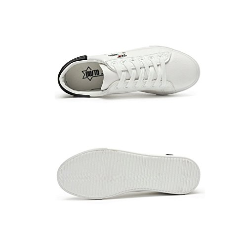Damen-Leder-Flat - Bottomed Sportschuhe Studenten Freizeit Breathable Skateboard Schuhe Outdoor Laufschuhe ( Farbe : Blau , größe : 37 ) Schwarz