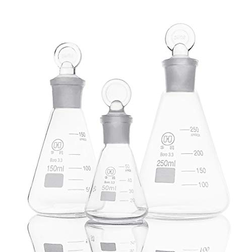 Huaou Glass Erlenmeyer Flask Set with Ground Glass Stopper - 3 Sizes - 50, 150 and 250ml, Borosilicate Glass