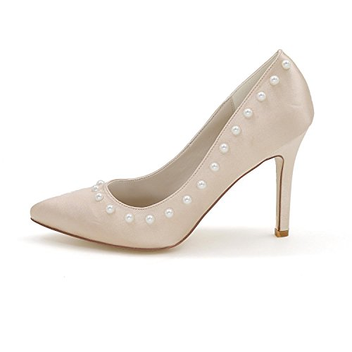 L@YC Women'S High Heels 0608-01Z Wedding Shoes Custom Pointed Rivet Shoes Champagne OPUI8