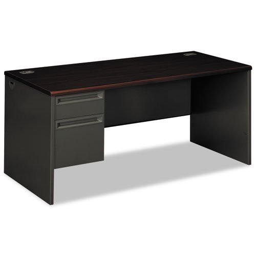 - HON COMPANY * 38000 Series Left Pedestal Desk, 66w x 30d x 29-1/2h, Mahogany/Charcoal, Sold as 1 Each