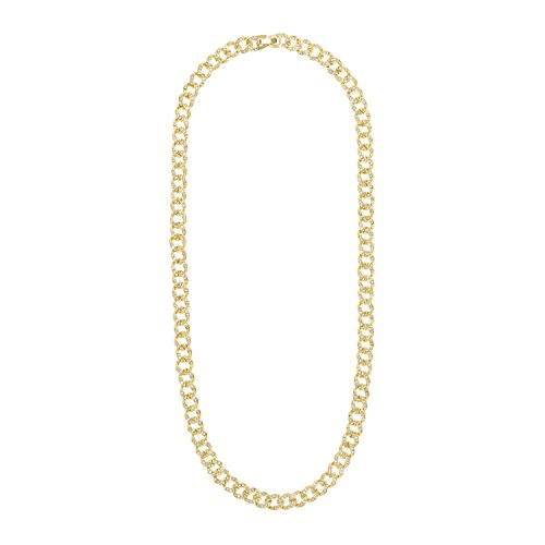 Jewelry4All 8mm Iced Out Gold Plated Cuban Link Chain with Simulated Diamond Crystals 24 ()