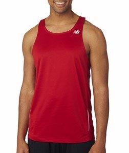 Mens Sleeveless Athletic Singlet - NB9138 New Balance Men's Running Singlet Sleeveless T-Shirt, Cherry Red , X-Large