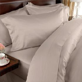 Egyptian Bedding 300-Thread-Count Egyptian Cotton 300TC Sheet Set, California King, Beige Solid 300 TC