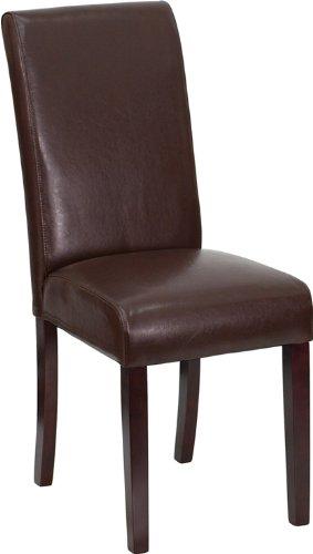 Terrific Flash Furniture Dark Brown Leather Parsons Chair Creativecarmelina Interior Chair Design Creativecarmelinacom