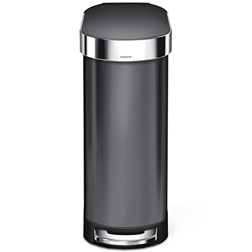 simplehuman Slim Step Trash Can with Liner Rim, Black Stainless Steel, 45 L/12 Gal