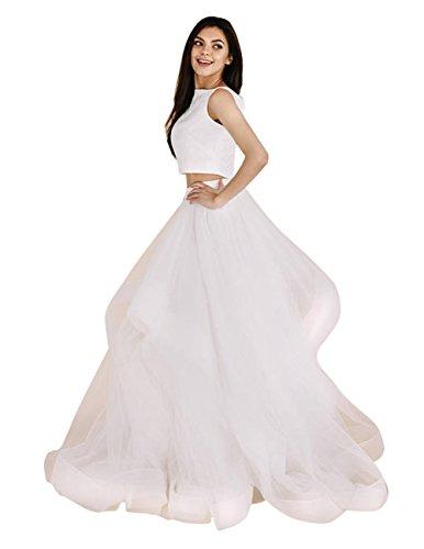 flowerry Women Tiered Ruffle Tutu Tulle Wedding Train Skirt Horsehair Halloween Thanksgiving Party Skirt (XXL, White) ()