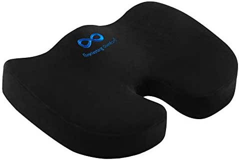 Everlasting Comfort Seat Cushion for Office Chair - Tailbone Pain Relief Cushion - Coccyx Cushion - Sciatica Pillow for Sitting (Black)