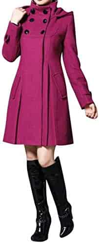7c26b49ab5d Jotebriyo Women s Plus Size Shawl Double Breasted Hoodie Longline Wool  Blend Trench Coat Jacket Overcoat