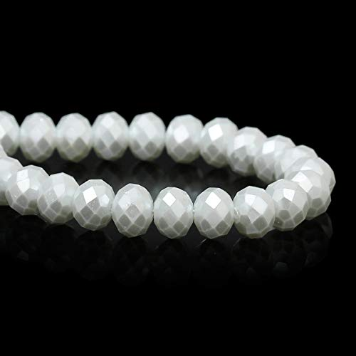 - 8x6mm Pearl White Opq Crystal fct Rondelle Beads dbl strnd ~144 Beads bgl1228 Jewelry Making Supplies Set Crafts DIY Kit