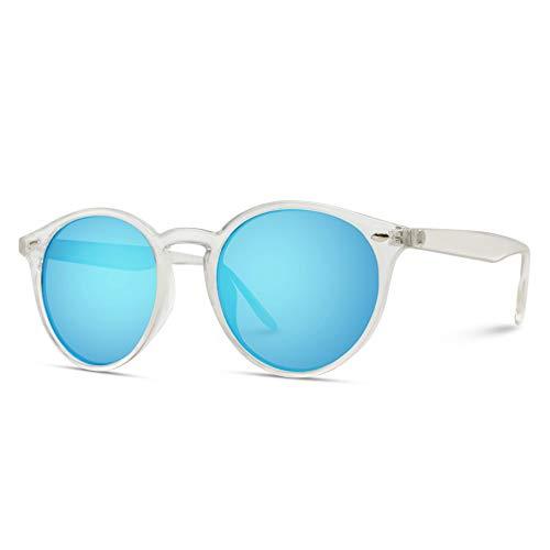 WearMe Pro - Classic Small Round Retro Sunglasses (Clear Frame/Mirror Blue Lens, 51)