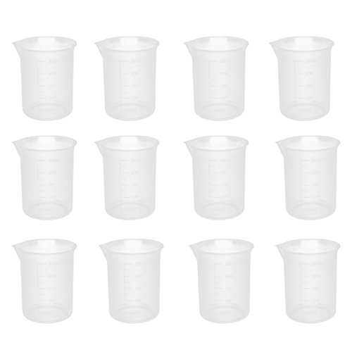 Saim 250ML Clear Plastic Measuring Beakers Liquid Container School Laboratory Kitchen 12PCS