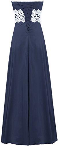 Women's Navy Strapless ANTS Long Chiffon Lace Blue Homecoming Bridesmaid Dresses 1ZnqdHR