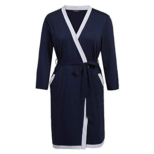 baqijian Plus Size Long Bathrobe Sleepwear Robes Women Long Sleeve Bathroom Robe Lounge -