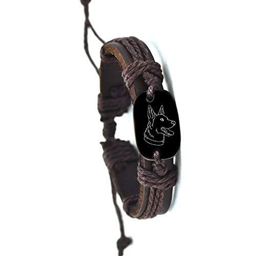 (German Shepherd Dog Backer Woven Rope Leather Bracelet Yak Bone Carved Bracelet)