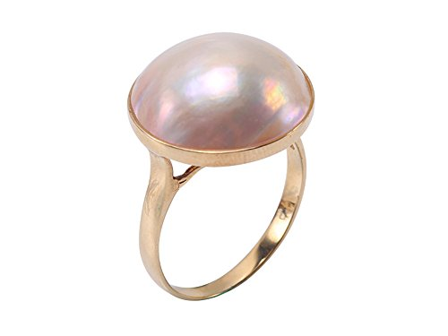 JYX 14K Gold Iridescent 17.5mm Pink Mabe Pearl Ring - Gold Mabe Pearl Ring