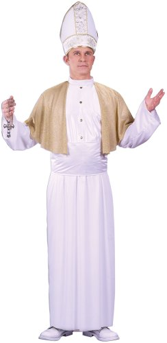 FunWorld Men's Pontiff Costume, White/Gold, One Size Costume -