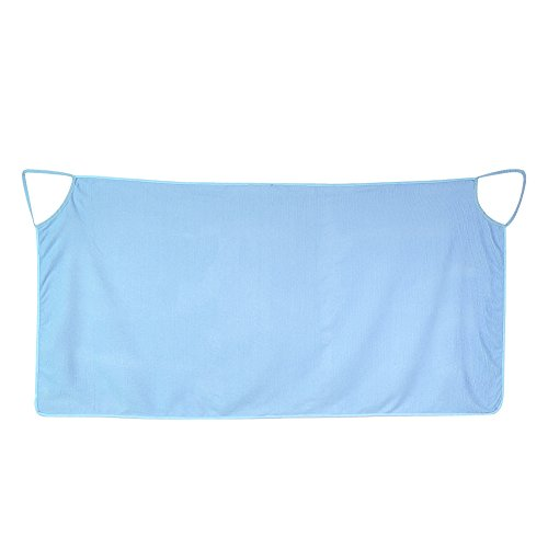 Shoulder Straps Bath Towel Microfiber Soft Warm Ultra Absorbent Breathing Freely Wearable Bath Skirt Beach Cloth Beach Spa Bathrobes 140 x 70cm / 55.1 x 27.6 inch(Blue)