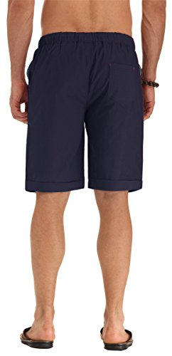 NITAGUT Men's Linen Casual Classic Fit Short Navy Blue L by NITAGUT (Image #3)