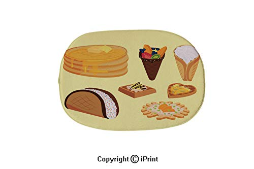 (Oval Shaped Rug Pink Mat For Kids Room Soft Rugs For Bedroom/Bathroom,Different wafer cookies waffle cakes pastry cookie biscuit delicious snack cream dessert crispy bakery food vector illustration,19)