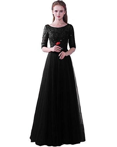 Tüll mit ED1716 Abendkleider Spitze Damen Schwarz Festkleider Lang Hochzeit für Elegant Ärmeln LuckyShe PIxUXP