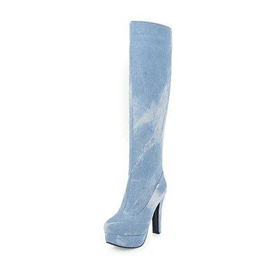 tallone 5 donna Stivali RTRY 5 Novità scuro blu sposa punta denim navy Inverno Scarpe scarponi da CN40 abiti per Thigh Stivali UK6 US8 High Chunky tonda moda EU39 blu wYwSqz5