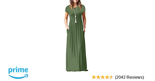 f45215a710 AUSELILY Women Short Sleeve Loose Plain Casual Long Maxi Dresses with  Pockets