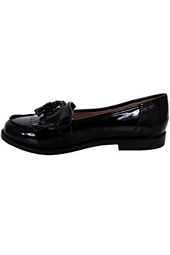 FANTASIA BOUTIQUE ® Ladies Low Heel Tassel Fringe Smart Patent School Work Slip On Loafers Pumps Black W86zBCz2