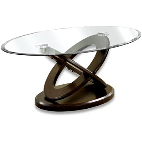 Furniture Of America Xenda Coffee Table With 8mm Tempered Glass Top And Cross Shaped Base Dark Walnut Finish