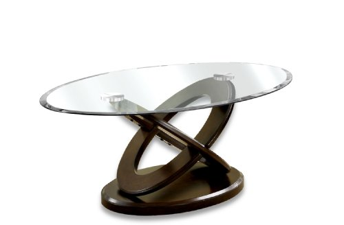 (Furniture of America Xenda Coffee Table with 8mm Tempered Glass Top and Cross Shaped Base, Dark Walnut Finish)