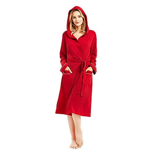 M&M Mymoon Womens Cotton Robe Soft Kimono Spa Knit Bathrobe Lightweight Long (Burgundy Hooded, XL)