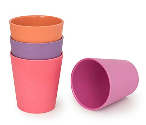 BOBO&BOO Adult-Sized (16oz) Eco Friendly Bamboo Cups for Adults & Kids   4 Set   Durable Bamboo Dinnerware Set for Home, Picnic & Party Time – BPA Free – Dishwasher Safe - FDA Approved - SUNSET