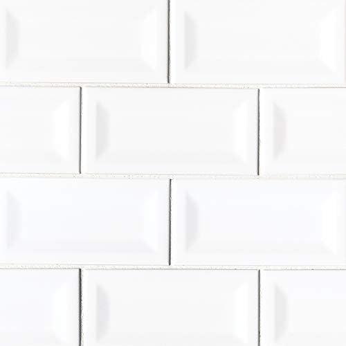 Domino White Glossy 3X6 Beveled Tile,50 SFT//Case 400 Pcs